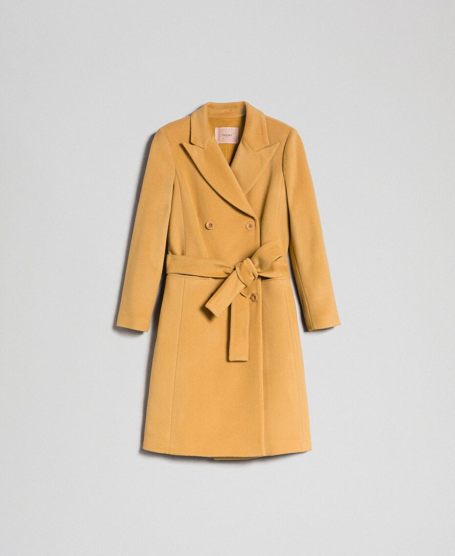 "Double breasted wool cloth coat ""Gold Camel"" Beige Woman 999TT2030-0S"