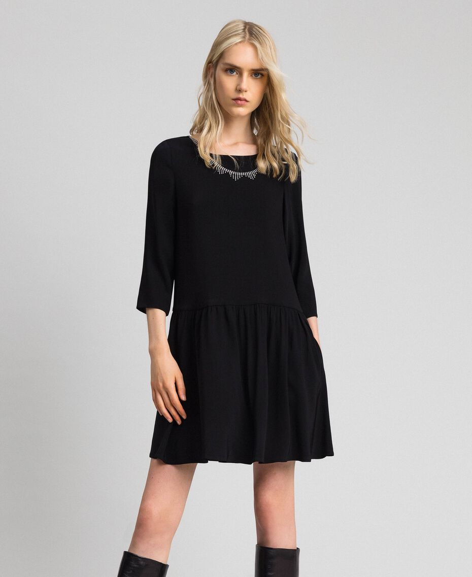 Georgette dress with removable jewel Black Woman 192TP2110-01