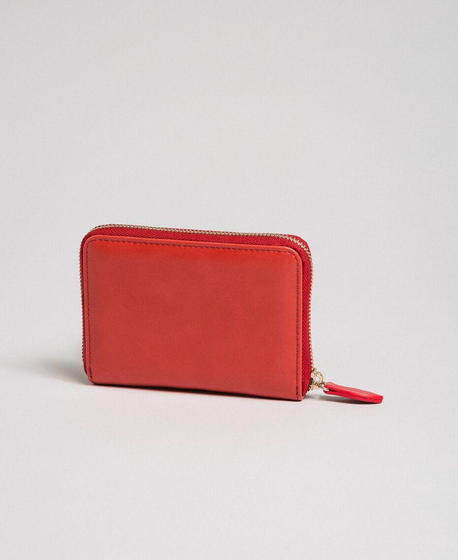 Kleine Geldbörse aus Lederimitat mit Herzprägung Rot Mohn Frau 192MA7016-02