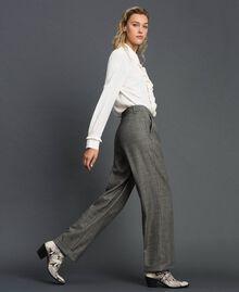 Pantaloni wide leg in principe di Galles Disegno Galles Grigio Scuro Lurex Donna 192TT244A-01