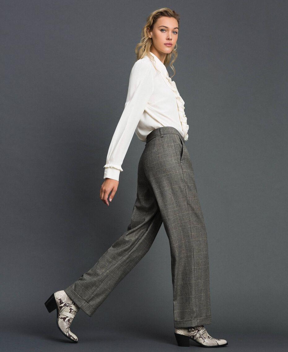 Glen plaid wide leg trousers Lurex Dark Grey Wales Design Woman 192TT244A-01