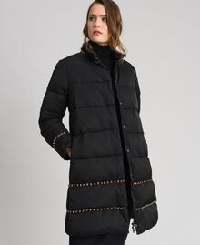 Quilted long puffer jacket with chains Black Woman 192TP2141-02