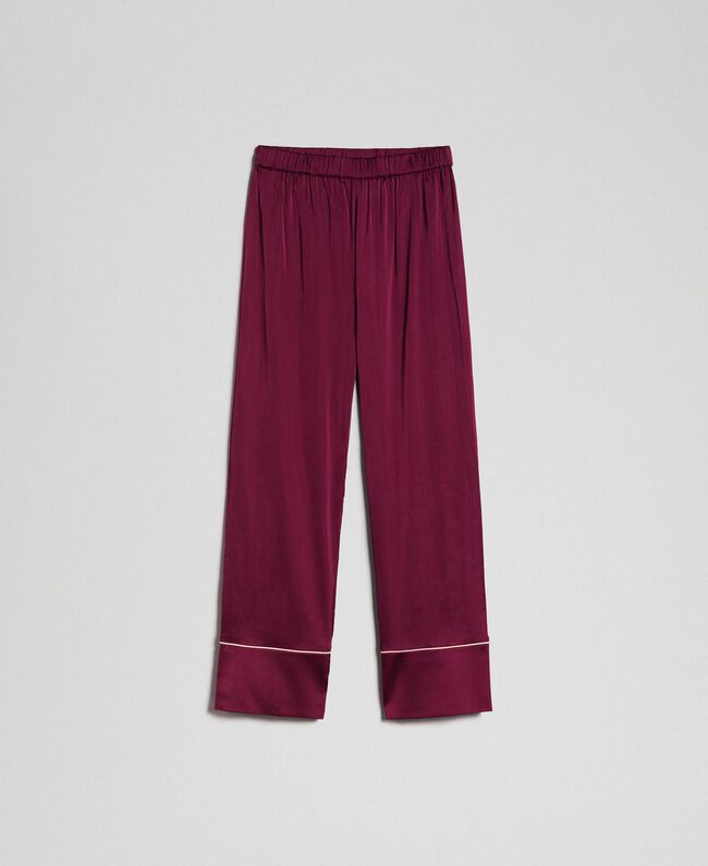 Pantaloni in raso con piping Purple Red Donna 192LL2DKK-0S