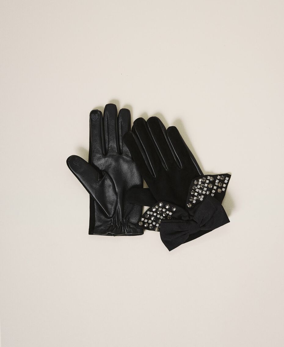 Leather gloves with bow Black Woman 202TA4354-01