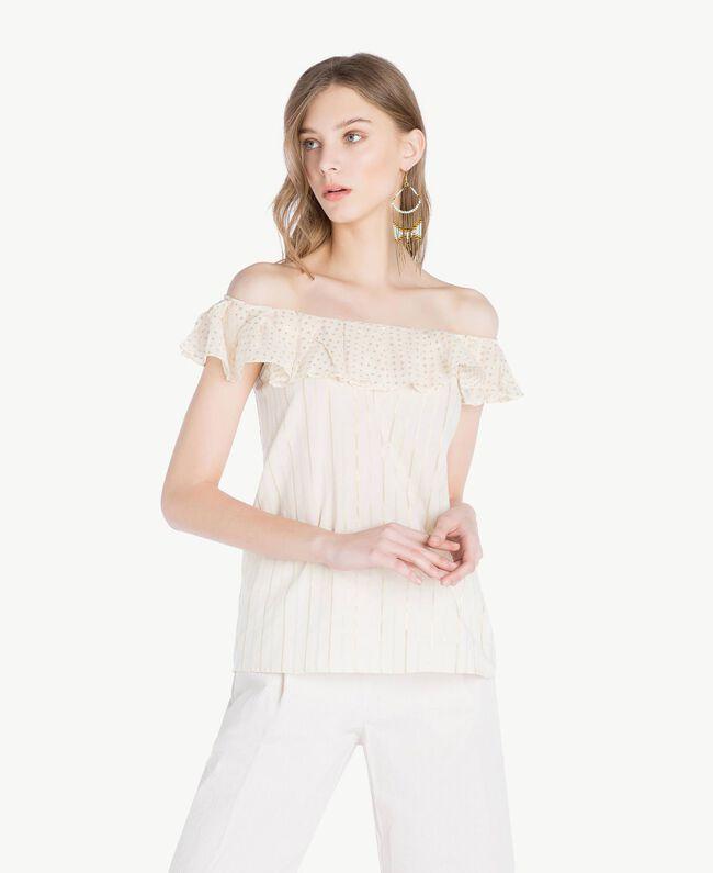 Jacquard blouse Two-tone Mid Melange Grey / Light Gold Woman TS8263-01