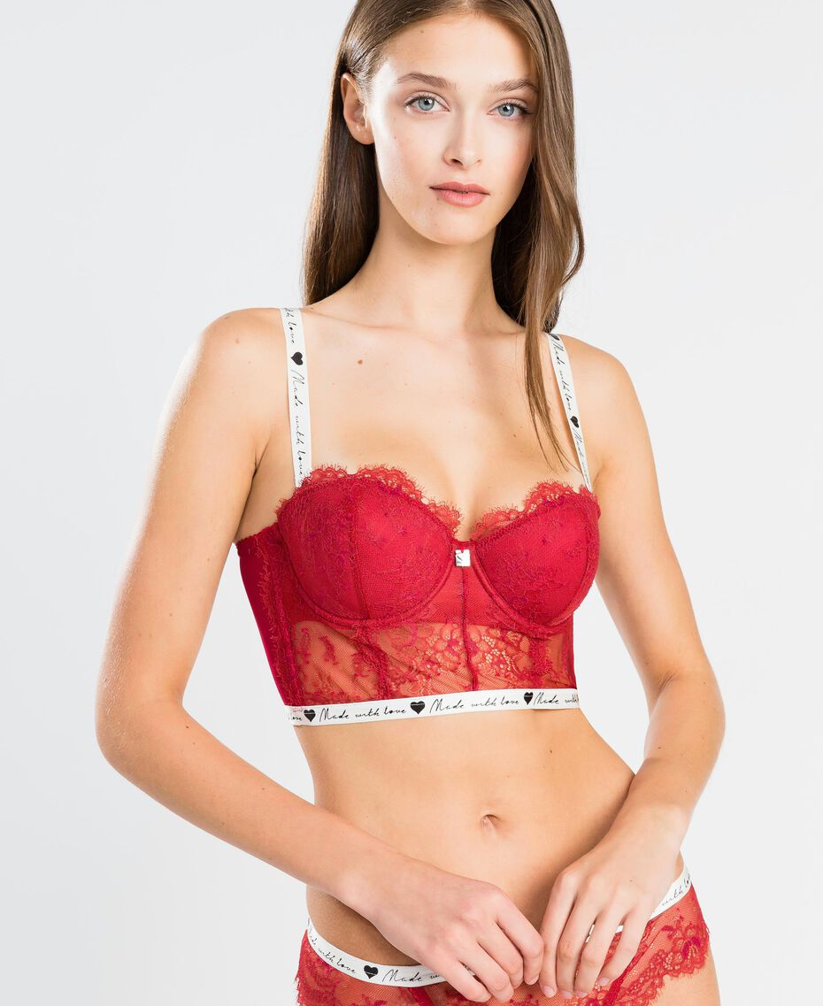 """Lace bustier with contrast elastic band """"Reddish"""" Red Woman LA8F33-0S"""