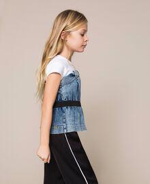 "Top in jeans con arricciatura Bicolor Bianco ""Papers"" / Denim Medio Bambina 201GJ2312-02"