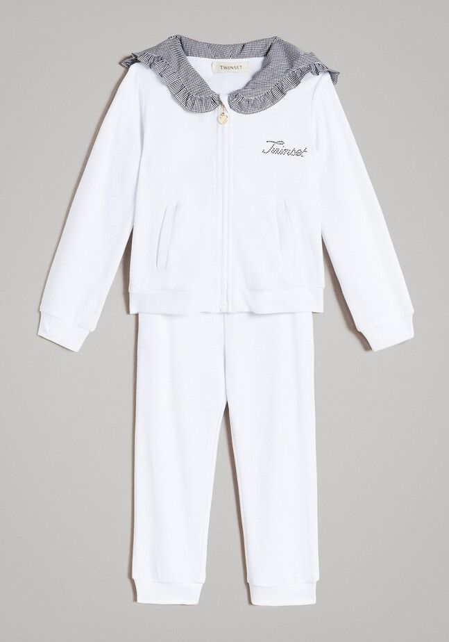 Fleece tracksuit with gingham details