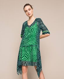 "Georgette animal print dress ""Atlantic Deep"" Green Zebra Print Woman 201LB2GGG-01"