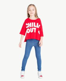 "Printed sweatshirt Two-tone Pomegranate Red / ""Papyrus"" White Child GS82KA-05"