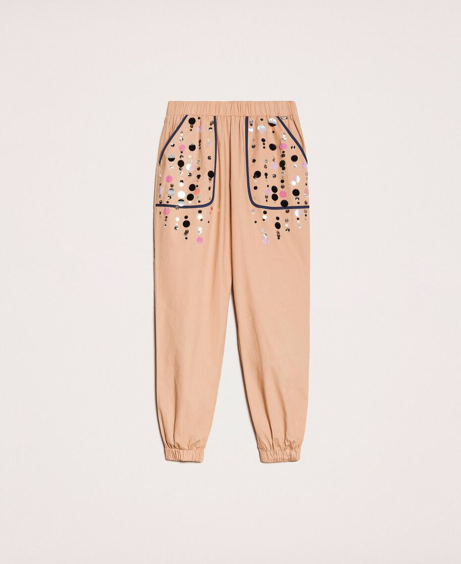 Poplin joggers with embroidery Elm Green Woman 201ST2026-0S