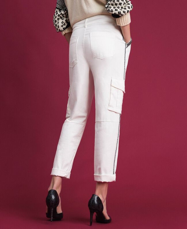 Pantalon combat avec pierres et clous Blanc Neige Femme 192TP2583-05