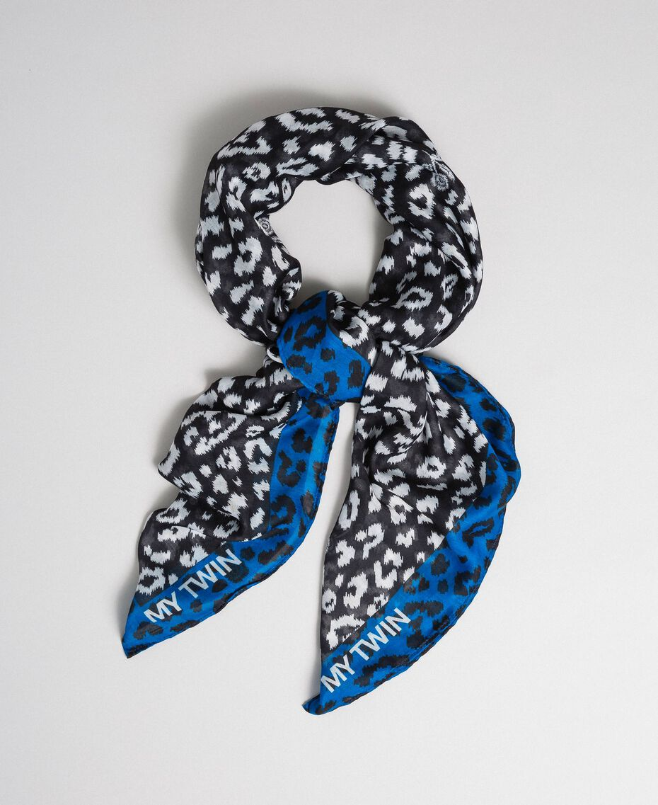Contrasting animal print scarf Black / Japanese Blue Animal Print Woman 192MA4329-01