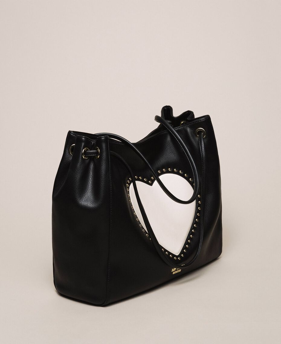 "Hobo bag with studs and heart Black / ""Vanilla"" White Woman 201MA7093-02"