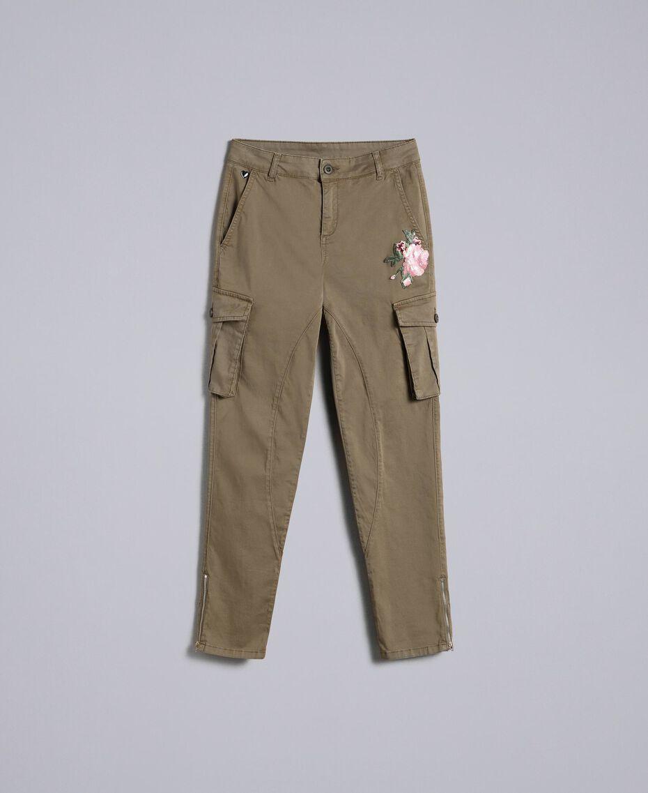 Combathose aus Baumwolle im Slim-Fit Alpengrün Frau JA82ED-0S