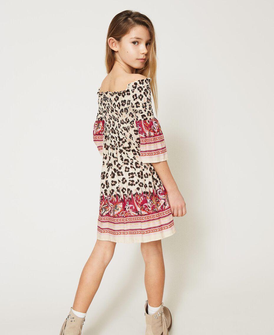 Off-shoulder animal print dress Leopard Spot & Paisley Print Child 211GJ2246-03