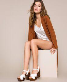 Clog-Sandalette aus Leder Weiß Frau 201MCT018-0T