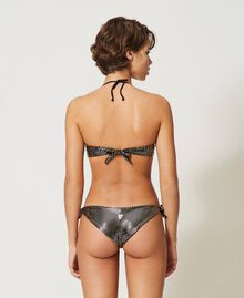 Bandeau bikini top with laminated polka dots Black / Gold Polka Dot Print Woman 211LMM111-03