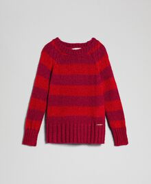 Zweifarbig gestreifter Pullover aus Mohair Jacquard Streifen Weinrubinrot / Rot Kind 192GJ3220-0S