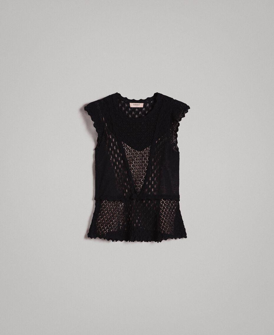 Top en point de dentelle Noir Femme 191TP3073-0S