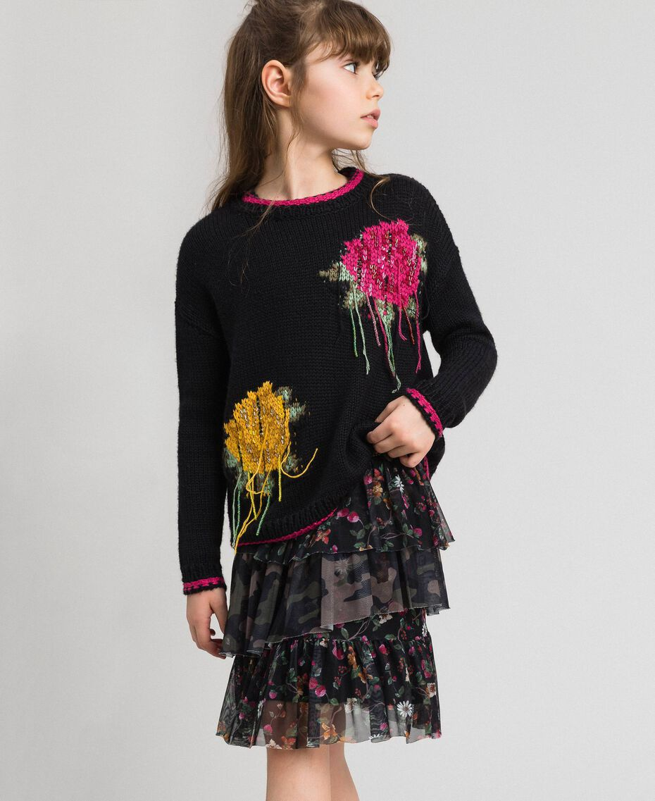 "Wool blend jumper with rose inlay Black / ""Candy"" Fuchsia Child 192GJ3020-03"