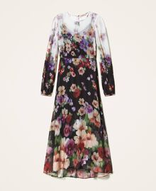 Floral georgette long dress Black / Ivory Fadeout Floral Print Woman 202TT2380-0S