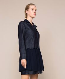 Denim shirt dress with rhinestones Denim Blue Woman 201MP2400-03
