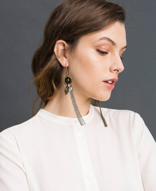 Boucles d'oreilles avec rose et strass Laiton Usé Femme 192TO530H-0T