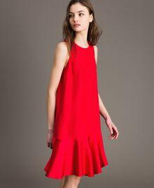 """Leinen-Kleid aus Enver-Satin mit Volant """"Lipstick Red"""" Rot Frau 191TT2304-02"""