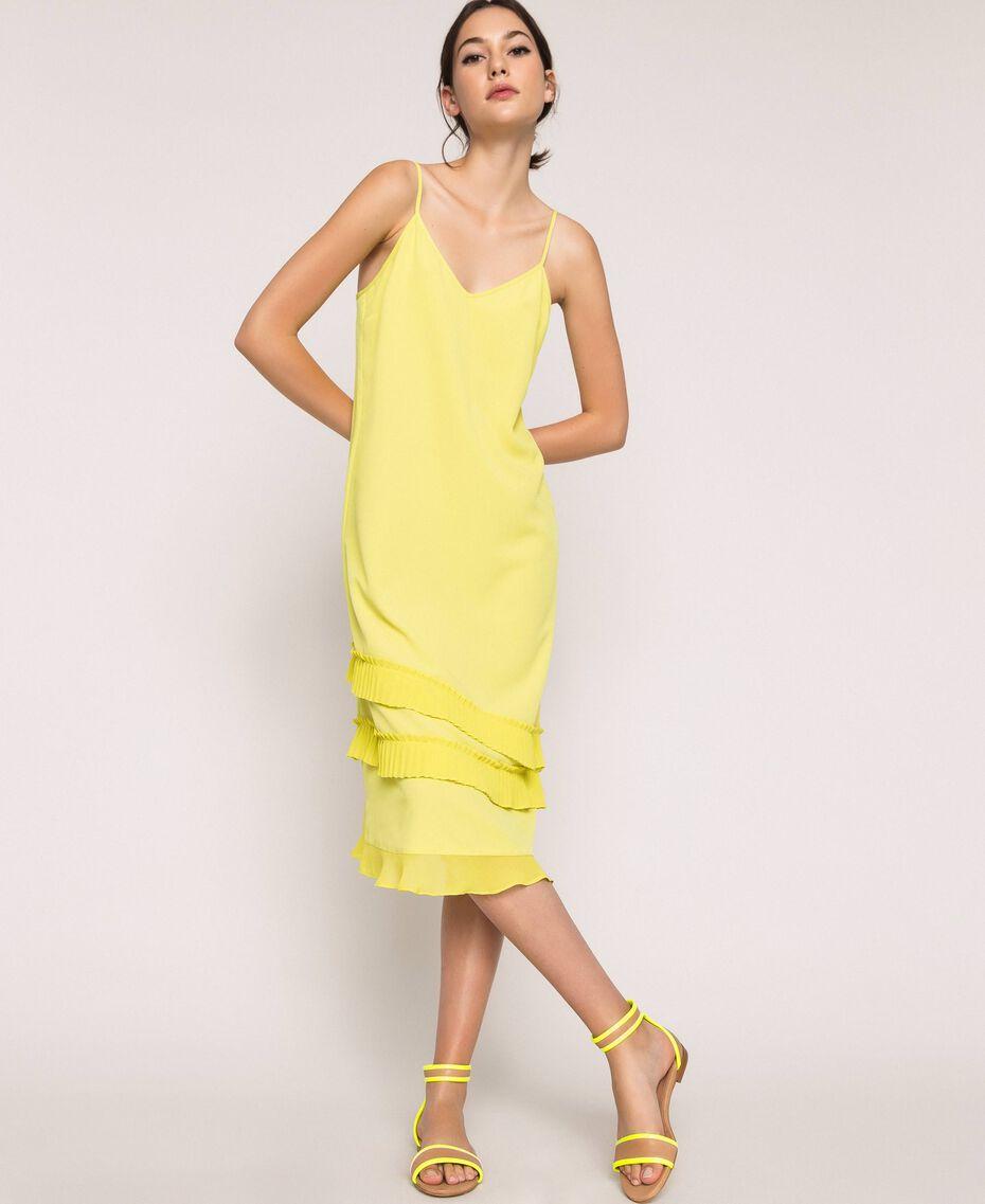 "Pleated crêpe de Chine slip dress ""Light Lemon"" Yellow Woman 201ST2015-01"