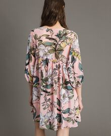 """Floral print georgette tunic dress """"Soft Pink"""" Exotic Print Woman 191ST2222-03"""