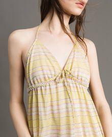 """Robe longue avec rayures lurex Rayures Multicolores Marron """"Poudre De Bronze"""" / Jaune """"Jus De Citron"""" Femme 191LB2AFF-04"""