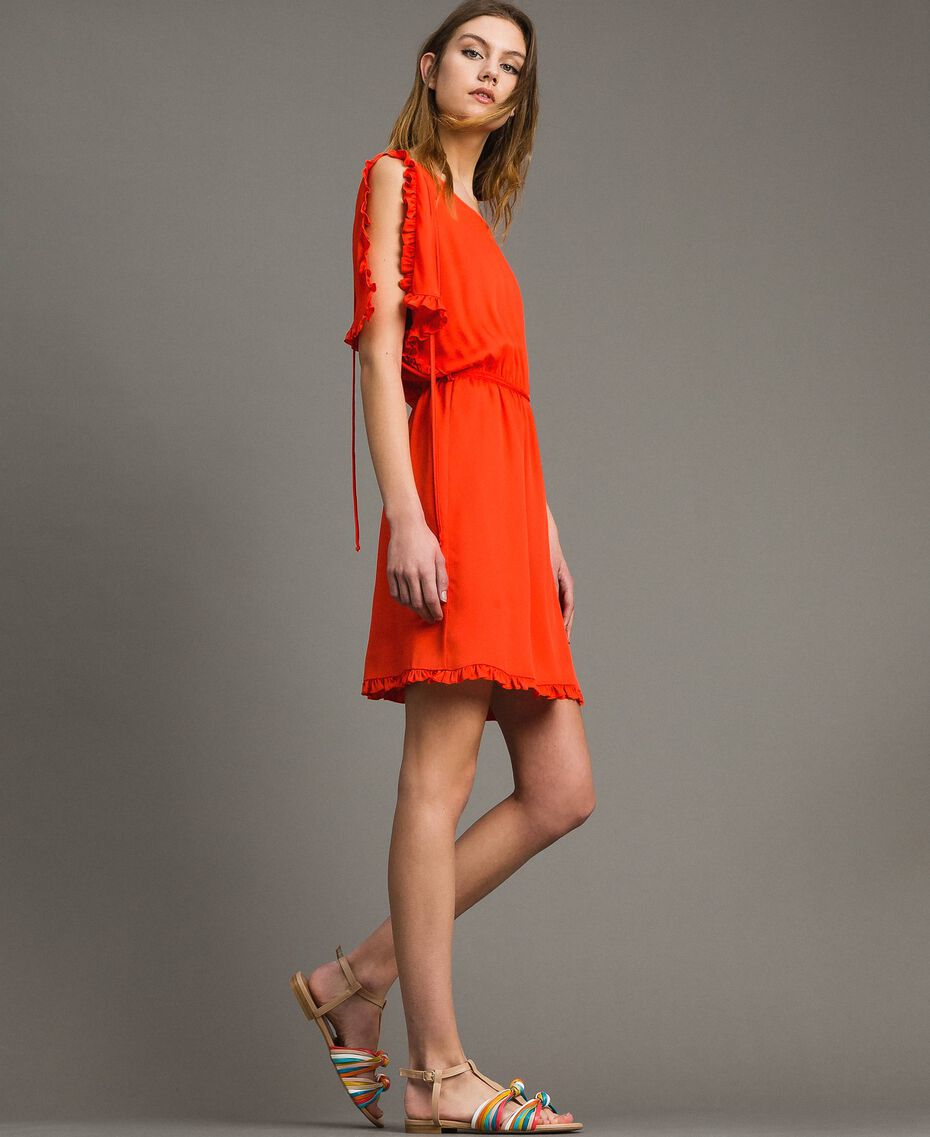 Silk blend dress with ruches Granadine Red Woman 191TT2070-02