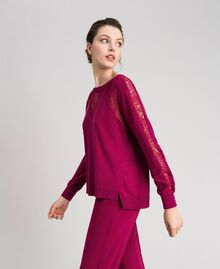 Jumper with lace inlays Beet Red Woman 192TP3172-02