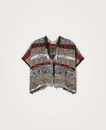 Jacquard cardigan with fringes Multicolour Jacquard Textured Woman 211TT3270-0S