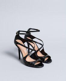 Высокие кожаные босоножки с заклепками Черный женщина CA8PRA-02