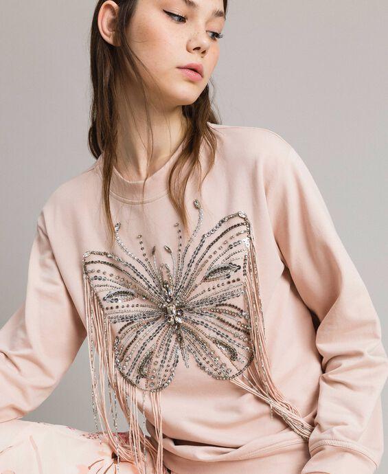 Sweatshirt mit Stickschmetterling und Fransen