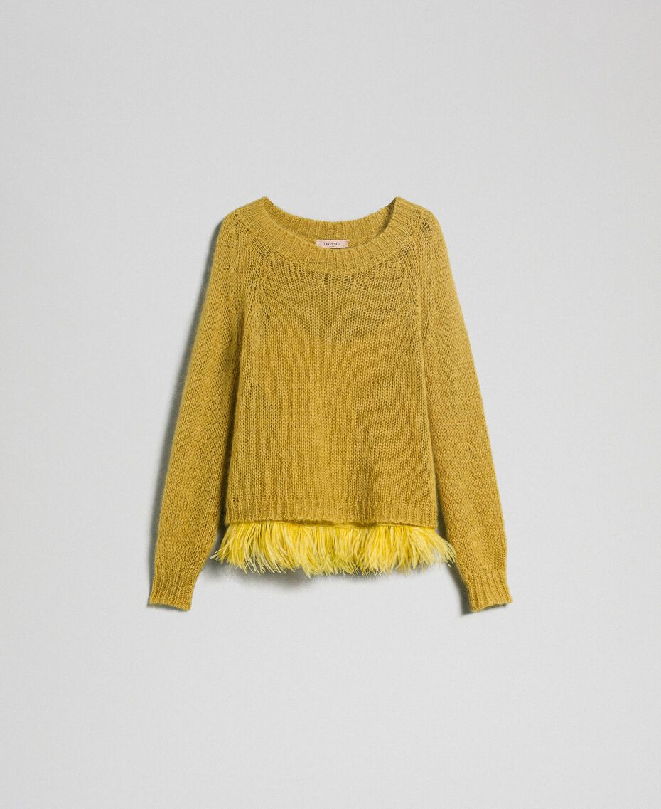 "Mohair jumper and feathered top ""Wasabi"" Yellow Woman 192TT3275-0S"