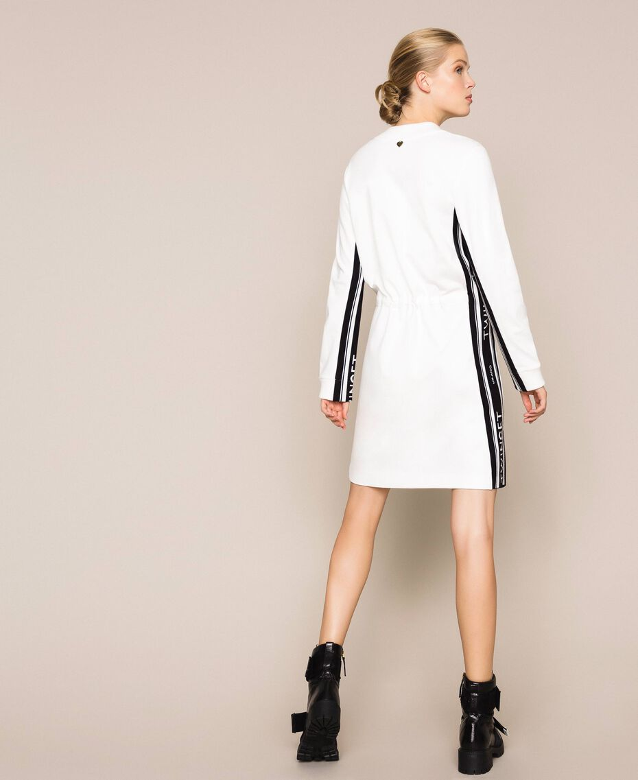 Dress with jacquard logo bands Ivory Woman 201TP2073-03