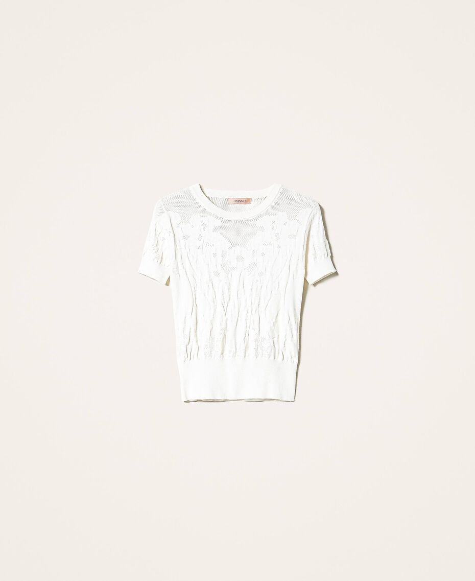 Mesh jumper with lace stitch White Snow Woman 202TP3321-0S