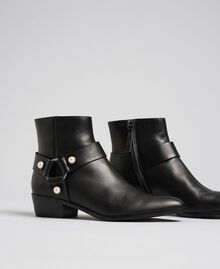 Leather booties with straps and pearls Black Woman 192TCP10E-01
