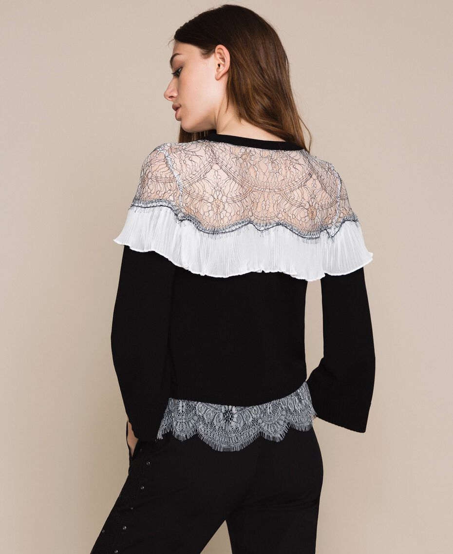 Jumper with two-tone lace and pleats Black Woman 201TT3141-03