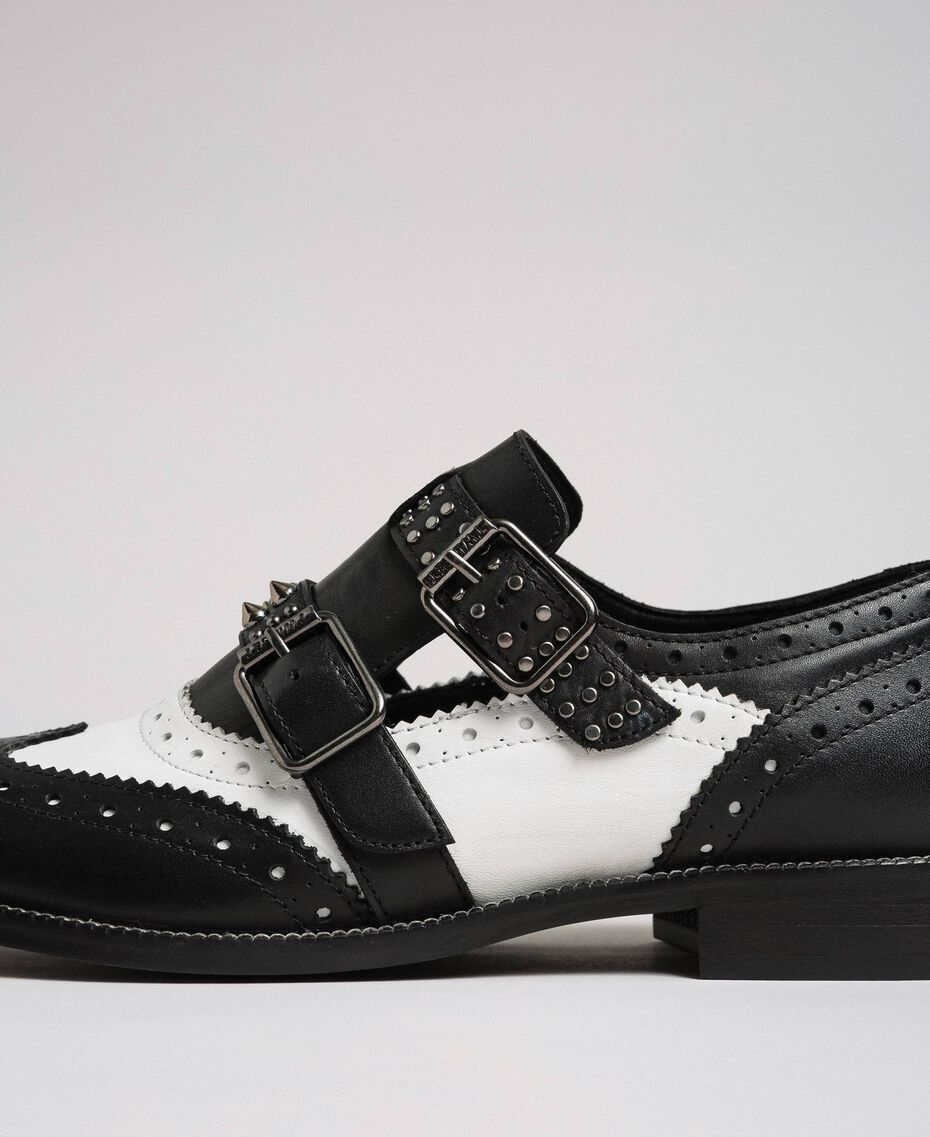 Leather shoes with tie up laces and studded straps Optical White / Black Woman 192TCP10U-03