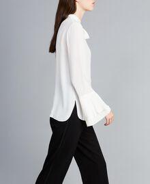 Blusa in misto seta con plissé Bianco Neve Donna TA823T-03