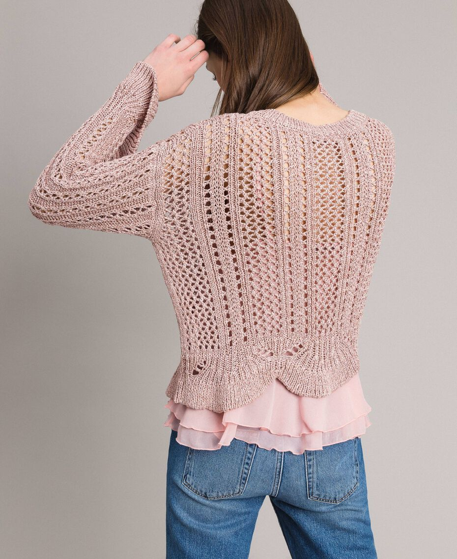 Lace stitch lurex top Pearl Pink Lurex Woman 191TP3351-03