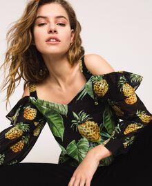 Blouse imprimée avec découpe aux épaules Imprimé Summer Fruits Noir Femme 201TT2461-01