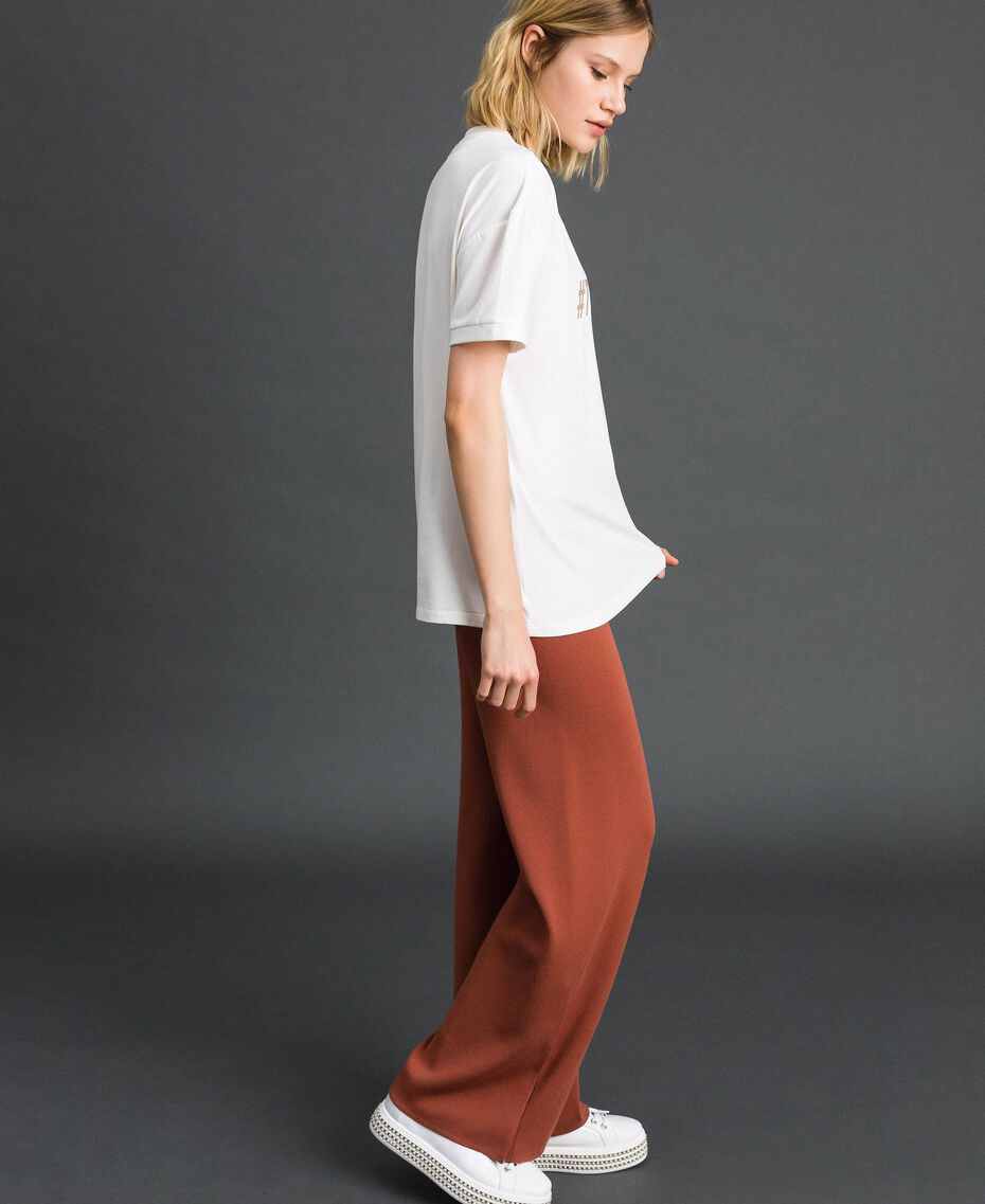 T-Shirt mit Metallic-Print Elfenbein Frau 192LI2RFF-02