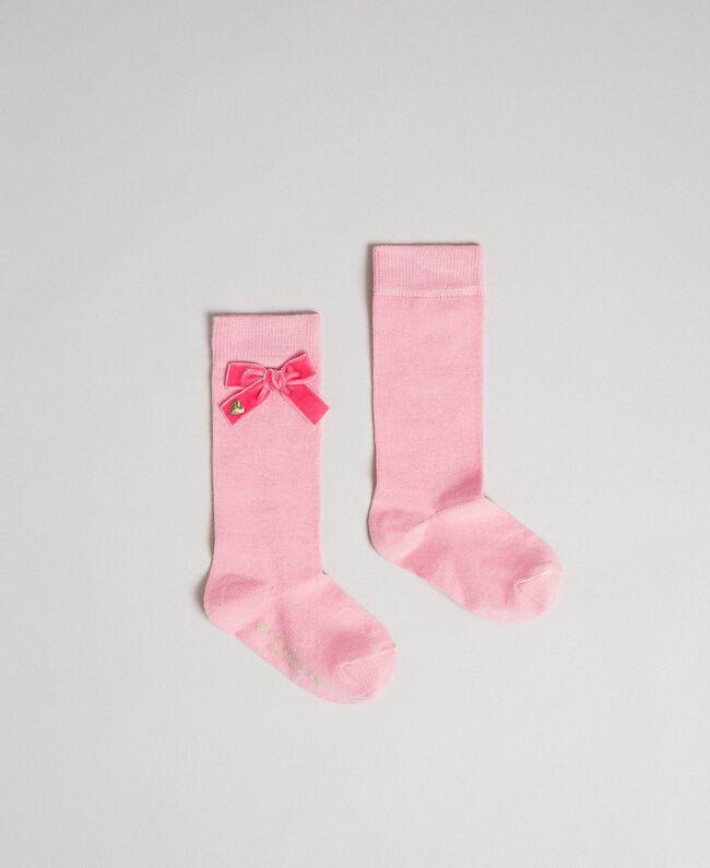 """Calze con fiocco in velluto Rosa """"Confetti"""" Bambina 192GB4900-01"""