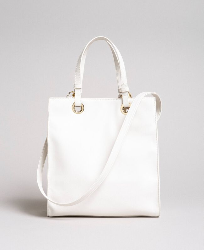 Faux leather Mon Coeur tote bag Vanilla White Woman 191TQ701A-03