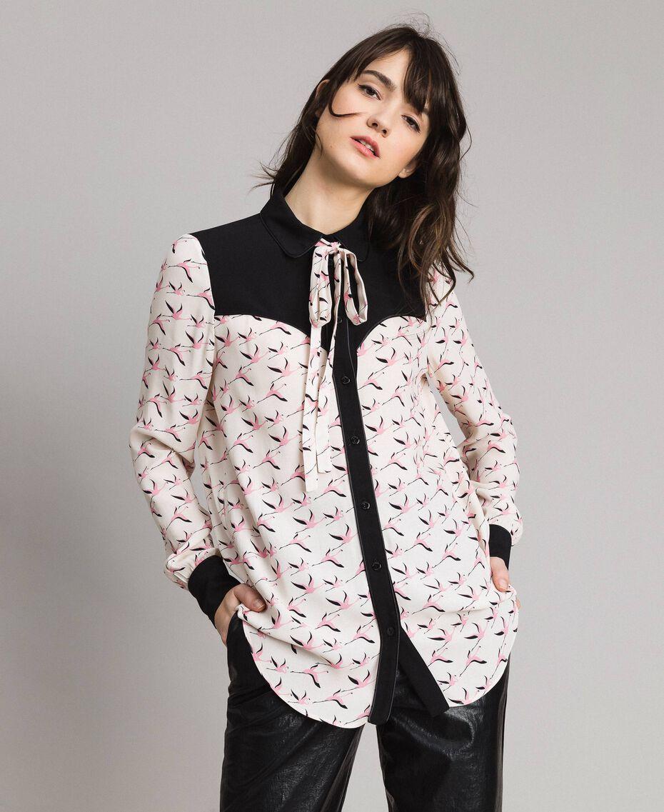 Hemd mit Flamingo-Aufdruck Motiv Flamingo Frau 191TP2762-02